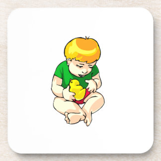toddler holding chick green shirt.png beverage coaster
