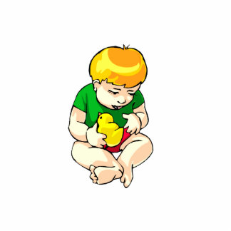 toddler holding chick green shirt.png photo cut out