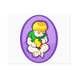 toddler holding chick purple oval.png canvas print