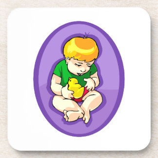 toddler holding chick purple oval.png coaster