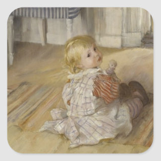 Toddler in a Pinafore Square Sticker
