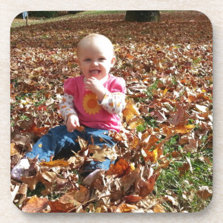Toddler in the fall Leaves Coasters