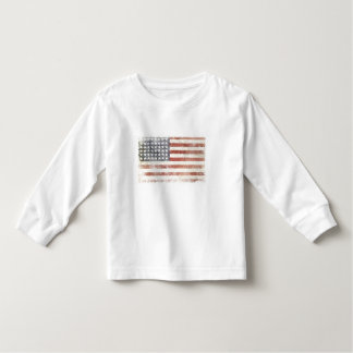 Toddler Long Sleeve Tee with Distressed USA Flag
