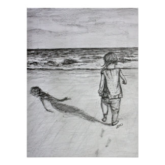 Toddler on the Beach Pencil Drawing Art Print