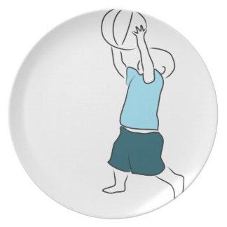Toddler Playing Basketball Dinner Plate