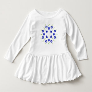 Toddler ruffle Dress / Blue flowers
