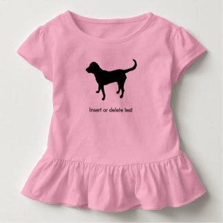 Toddler ruffle shirt black lab silhouette