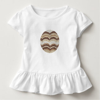 Toddler ruffle T-shirt with beige mosaic
