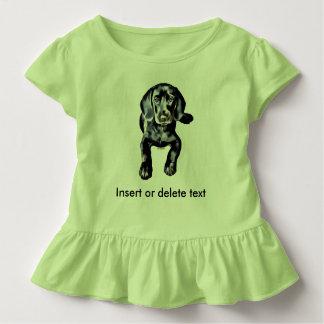 Toddler ruffle tee black lab puppy