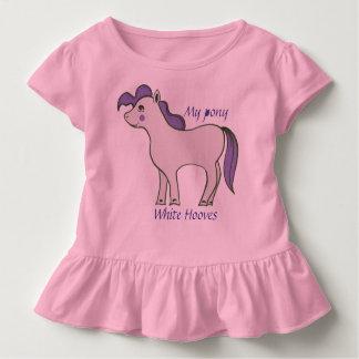 "Toddler Ruffle Tee ""Pony White Hooves"""