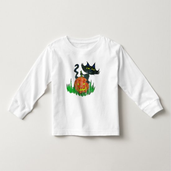 Toddler Tee Shirt - Halloween Kitty & Pumpkin