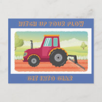 Toddler Tractor Birthday Invititation Invitation Postcard
