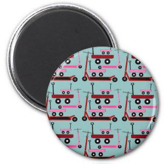Toddler Transportation Red Pink Scooters Wagons 2 Inch Round Magnet