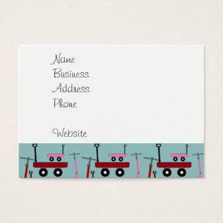 Toddler Transportation Red Pink Scooters Wagons Business Card