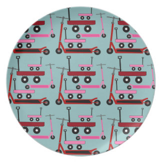 Toddler Transportation Red Pink Scooters Wagons Party Plate
