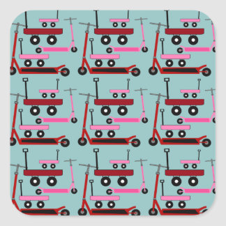 Toddler Transportation Red Pink Scooters Wagons Sticker