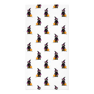 Toddler Witch Trick or Treat Repeat Pattern Photo Card