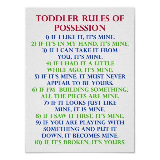 Toddlers Rules Of Possession Funny Poster Sign  Zazzle