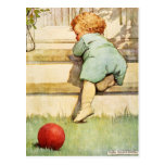 Toddling Baby Boy and Red Ball Postcard