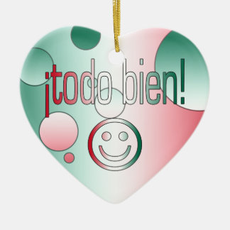¡Todo Bien! Mexico Flag Colors Pop Art Ceramic Ornament