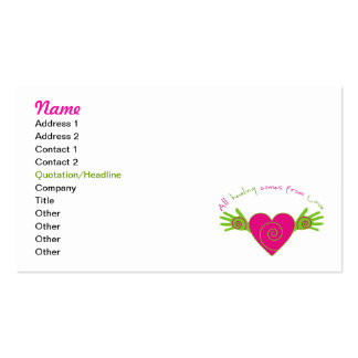 Todo curativo viene de amor tarjetas personales
