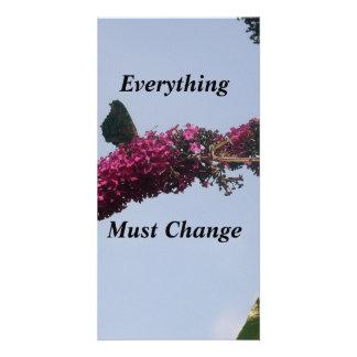 Todo debe cambiar la tarjeta de la mariposa tarjetas fotograficas personalizadas
