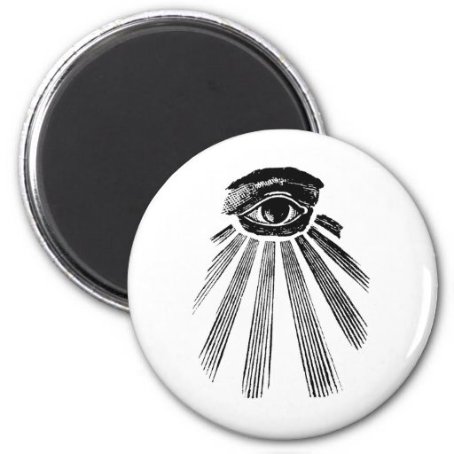 Todo el albañil del ojo que ve imán redondo 5 cm