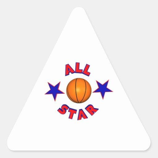 todo el baloncesto de la estrella pegatina triangular