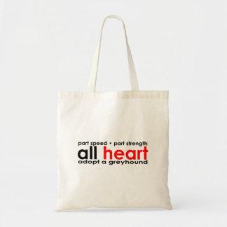 Todo el bolso del galgo del corazón bolsa tela barata