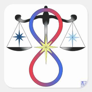 Todo el color universal del poder de dioses - símb calcomanias cuadradas