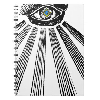 Todo el cuadrado y compás del ojo que ven masónico libro de apuntes con espiral