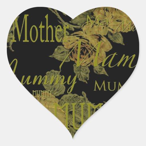 Todo el día de madres pegatina de corazón