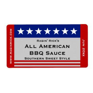 Todo el envase de comida americano de las barras y etiqueta de envío