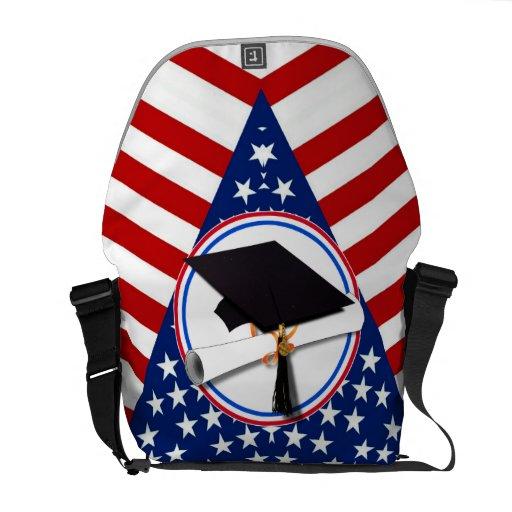 Todo el graduado americano - blanco rojo y azul en bolsas de mensajeria