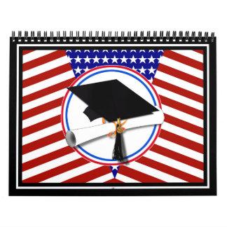Todo el graduado americano - blanco rojo y azul en calendario