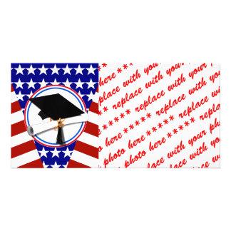 Todo el graduado americano - blanco rojo y azul en tarjetas fotográficas
