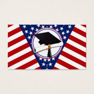 Todo el graduado americano - blanco rojo y azul en tarjetas de visita