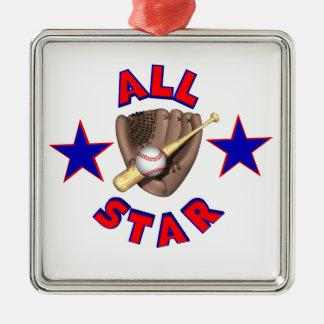 todo el gráfico del jugador de béisbol de la adorno navideño cuadrado de metal