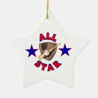 todo el gráfico del jugador de béisbol de la adorno navideño de cerámica en forma de estrella