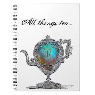 Todo el monograma del té de las cosas libreta espiral