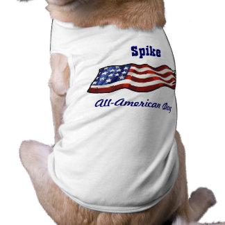 Todo el nombre personalizado patriótico del perro playera sin mangas para perro