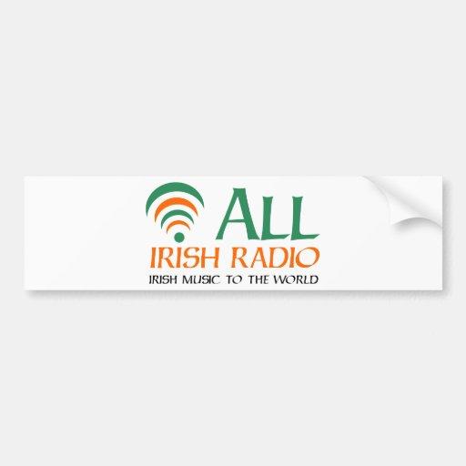 Todo el nuevo logotipo de radio irlandés etiqueta de parachoque