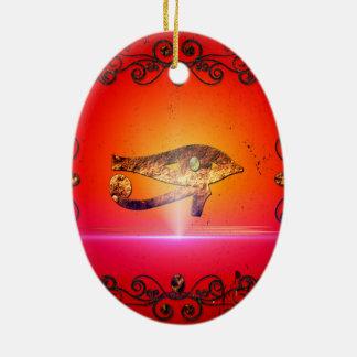 Todo el ojo que ve 5 adorno navideño ovalado de cerámica