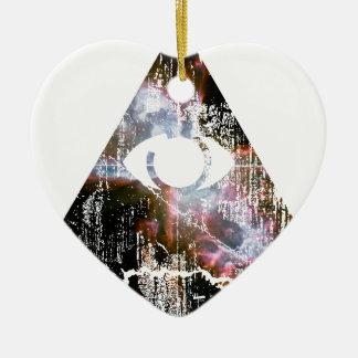 Todo el ojo que ve adorno navideño de cerámica en forma de corazón