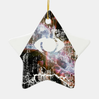 Todo el ojo que ve adorno navideño de cerámica en forma de estrella