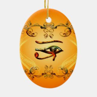 Todo el ojo que ve adorno navideño ovalado de cerámica