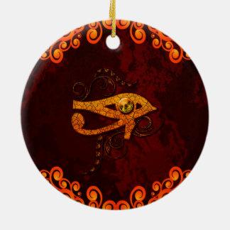Todo el ojo que ve adorno navideño redondo de cerámica
