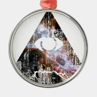 Todo el ojo que ve adorno navideño redondo de metal