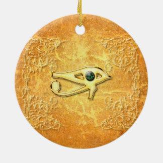 Todo el ojo que ve con el ojo hecho de diamante adorno navideño redondo de cerámica