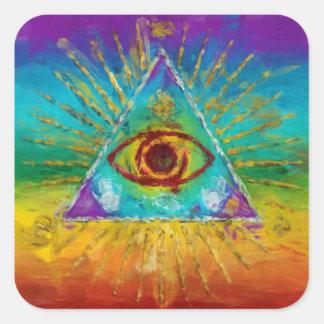 Todo el ojo que ve de dios - arte incompleto pegatina cuadrada